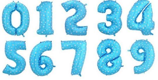 Цифры голубые со звёздами