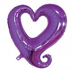 Сердце дизайнерское фиолетовое с голографией  фольгированный шар с гелием
