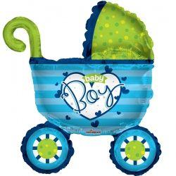 Шар коляска с сердечком для мальчика