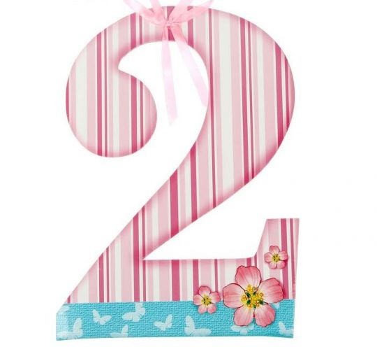 Цифра 2 для фотосессии розовая