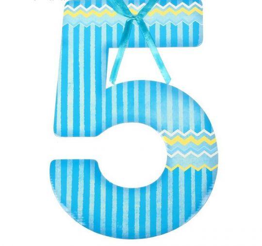 Цифра 5 для фотосессии голубая