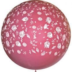 Метровый шар с розами, цвета фуксии