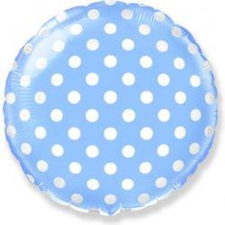 Голубой круг в горошек